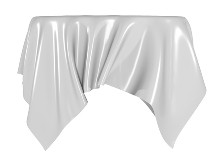 White silk elegance tablecloth. Trade show exhibition. Design element for background. 3d render illustration