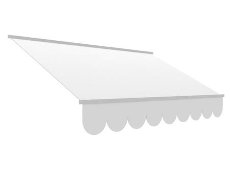 White shop awning sunshade mockup for shop and restaurant. 3d render illustration