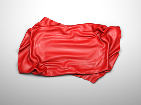 Red silk elegance tablecloth. Trade show exhibition. Design element for background. 3d render illustration Standard-Bild