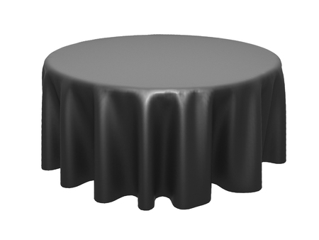 Black silk elegance tablecloth. Trade show exhibition. Design element for background. 3d render illustration