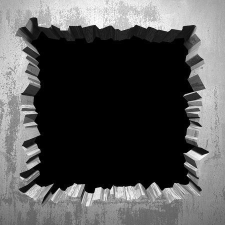 Dark cracked broken hole in concrete wall. Grunge background. 3d render illustration Stok Fotoğraf