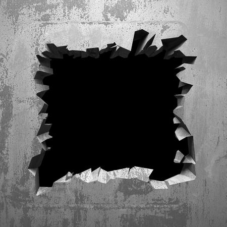 Dark cracked broken hole in concrete wall. Grunge background. 3d render illustration Imagens