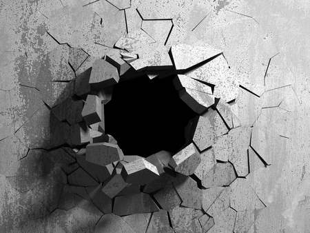 Dark cracked broken hole in concrete wall. Grunge background. 3d render illustration Imagens