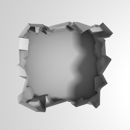 Dark destruction cracked hole in white stone wall. 3d render illustration Imagens