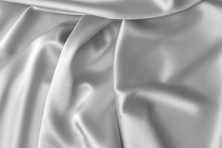 Rippled white silk fabric satin cloth waves glamour background Imagens
