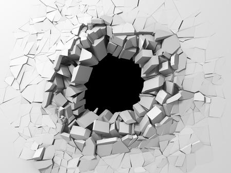 Dunkle Zerstörung riss Loch in weißer Steinmauer. 3D-Renderillustration Standard-Bild