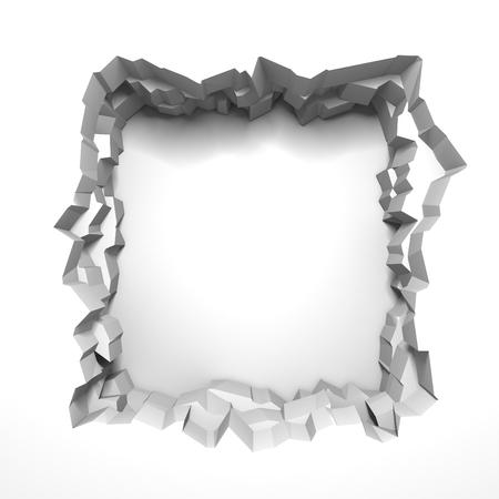 Dark destruction cracked hole in white stone wall. 3d render illustration Banco de Imagens
