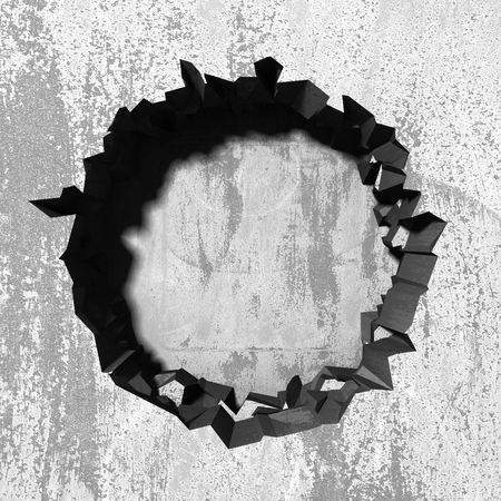 Dark cracked broken hole in concrete wall. Grunge background. 3d render illustration 版權商用圖片