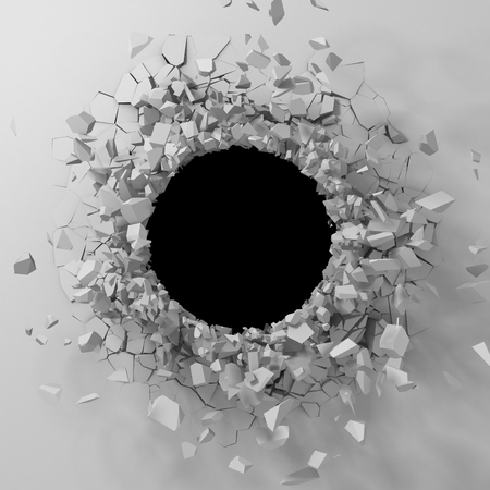 Dark destruction cracked hole in white stone wall. 3d render illustration Banco de Imagens