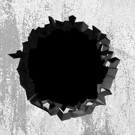 Dark cracked broken hole in concrete wall. Grunge background. 3d render illustration Stockfoto