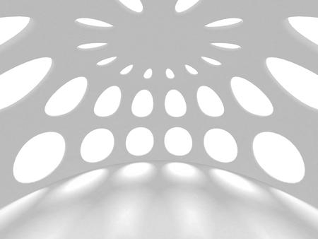 Futuristic White Architecture Design Background. 3d Render Illustration Banco de Imagens