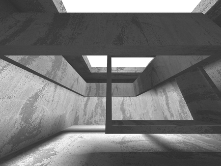 Dark concrete empty room. Modern architecture design concept. Urban textured background. 3d render illustration