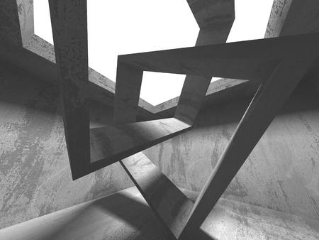 Dark concrete empty room. Modern architecture design concept. Urban textured background. 3d render illustration