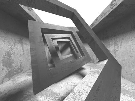 Dark concrete empty room. Modern architecture design concept. Urban textured background. 3d render illustration Stockfoto - 123122216