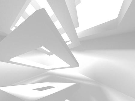 Arrière-plan de conception d'architecture blanche futuriste. Concept de construction. Illustration de rendu 3D