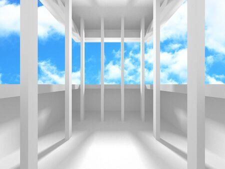 Conception d'architecture blanche futuriste sur fond de ciel nuageux. Concept abstrait de construction. Illustration de rendu 3D Banque d'images