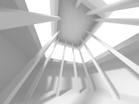 Fondo de diseño de arquitectura blanca futurista. Concepto de construcción. Ilustración de render 3d