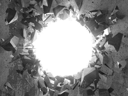 Dark cracked broken hole in concrete wall. Grunge background. 3d render illustration Reklamní fotografie