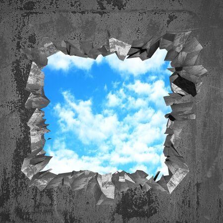 racked gebrochenes Loch in der Betonwand zum bewölkten Himmel. Freiheit Konzept. Grunge-Hintergrund. 3D-Render-Darstellung