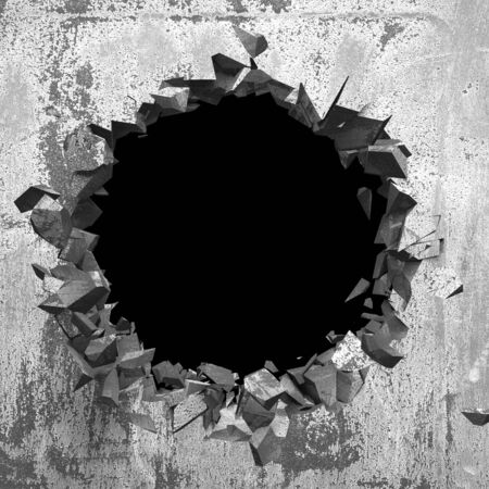 Dark cracked broken hole in concrete wall. Grunge background. 3d render illustration Banco de Imagens