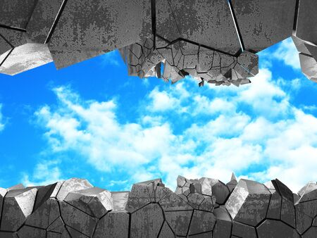 ?racked broken hole in concrete wall to cloudy sky. Freedom concept. Grunge background. 3d render illustration