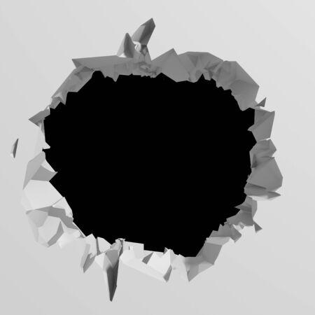 Dunkle Zerstörung riss Loch in weißer Steinmauer. 3D-Renderillustration
