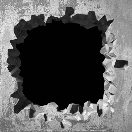 Dark cracked broken hole in concrete wall. Grunge background. 3d render illustration