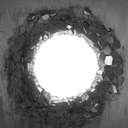 Dark cracked broken hole in concrete wall. Grunge background. 3d render illustration Stock Photo