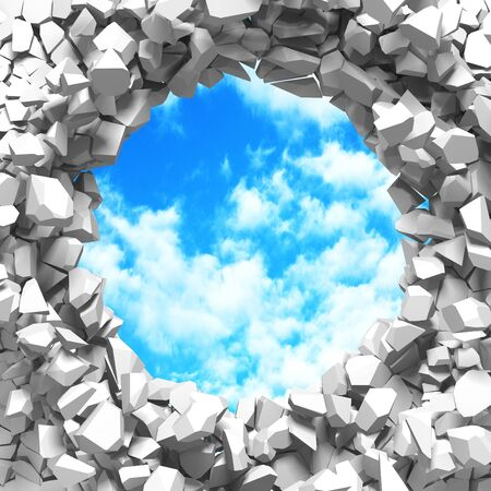 Сracked broken hole in white wall to cloudy sky. Freedom concept. Grunge background. 3d render illustration