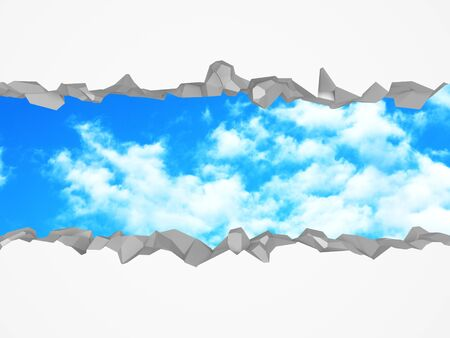 Ð¡racked broken hole in white wall to cloudy sky. Freedom concept. Grunge background. 3d render illustration