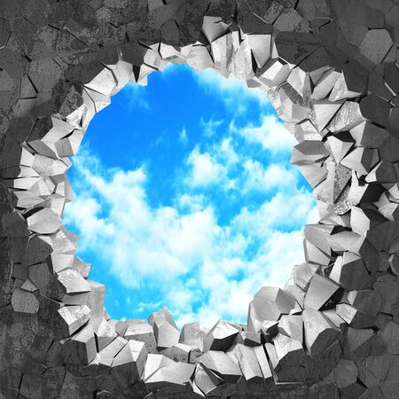 Сracked broken hole in concrete wall to cloudy sky. Freedom concept. Grunge background. 3d render illustration