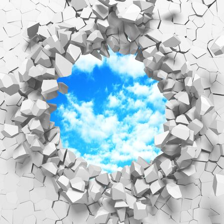 Ð¡racked broken hole in white wall to cloudy sky. Freedom concept. Grunge background. 3d render illustration 스톡 콘텐츠 - 129475149