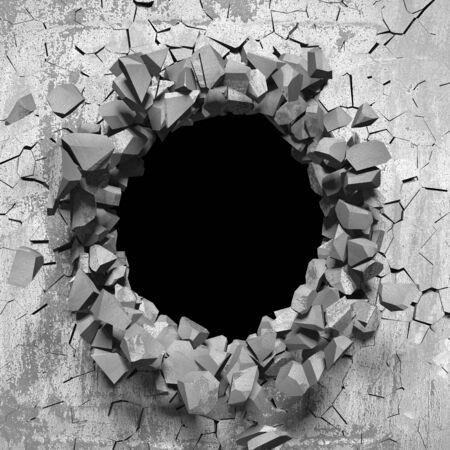 Foro rotto incrinato scuro nel muro di cemento. Sfondo grunge. 3d render illustrazione Archivio Fotografico