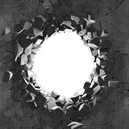 Foro rotto incrinato scuro nel muro di cemento. Sfondo grunge. 3d render illustrazione