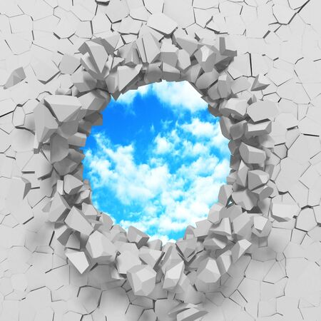 Ð¡racked broken hole in white wall to cloudy sky. Freedom concept. Grunge background. 3d render illustration 스톡 콘텐츠 - 129475604