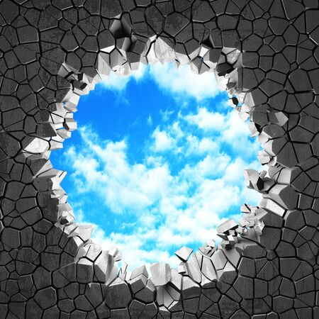 Ð¡racked broken hole in concrete wall to cloudy sky. Freedom concept. Grunge background. 3d render illustration
