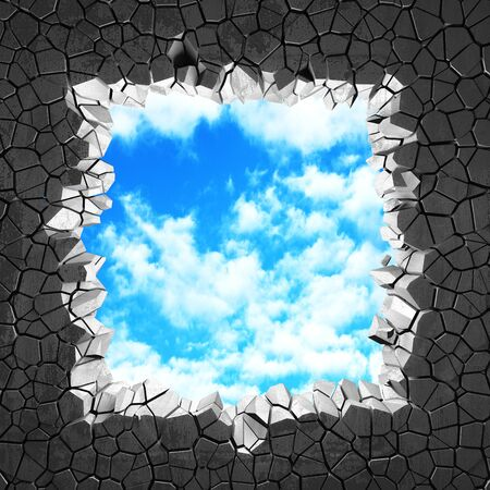Ð¡racked broken hole in concrete wall to cloudy sky. Freedom concept. Grunge background. 3d render illustration 스톡 콘텐츠 - 129477358