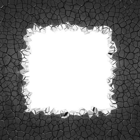Dark cracked broken hole in concrete wall. Grunge background. 3d render illustration Standard-Bild - 129477370