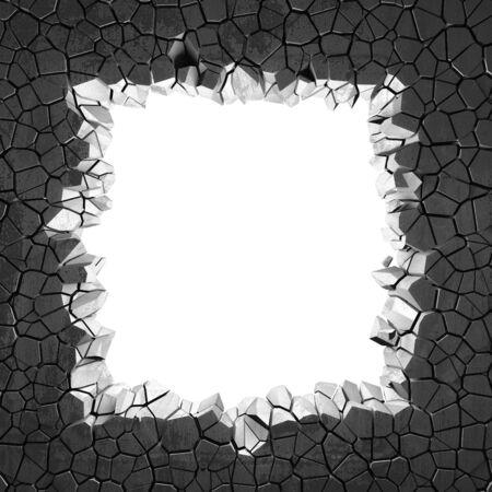 Dark cracked broken hole in concrete wall. Grunge background. 3d render illustration Standard-Bild - 129477384