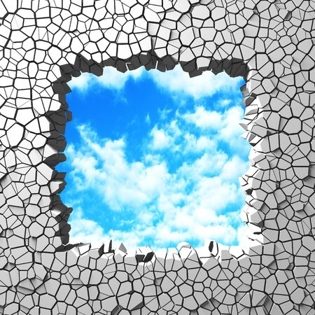 Ð¡racked broken hole in white wall to cloudy sky. Freedom concept. Grunge background. 3d render illustration 스톡 콘텐츠 - 129477395