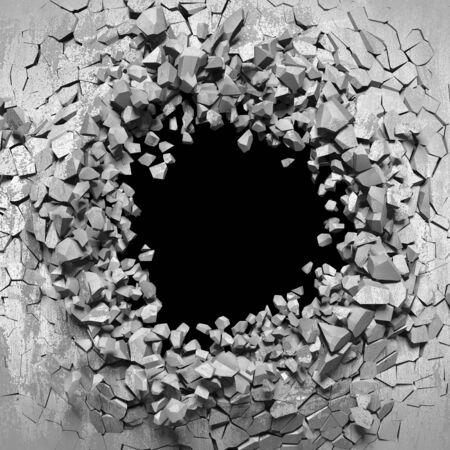 Dark cracked broken hole in concrete wall. Grunge background. 3d render illustration Standard-Bild - 129477507
