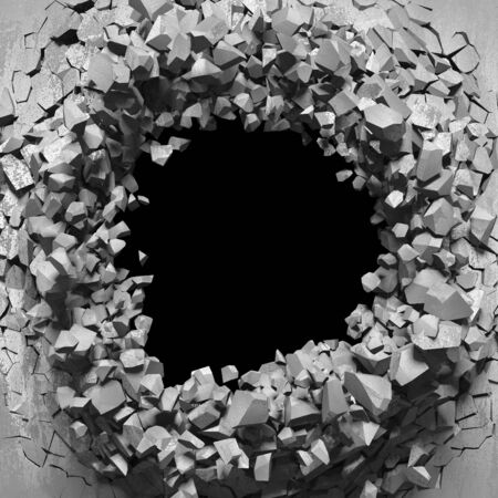 Dark cracked broken hole in concrete wall. Grunge background. 3d render illustration Standard-Bild - 129477518