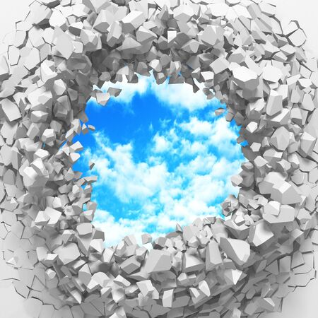 Ð¡racked broken hole in white wall to cloudy sky. Freedom concept. Grunge background. 3d render illustration 스톡 콘텐츠 - 129477522
