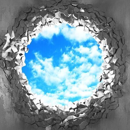 Ð¡racked broken hole in concrete wall to cloudy sky. Freedom concept. Grunge background. 3d render illustration 스톡 콘텐츠 - 129477739