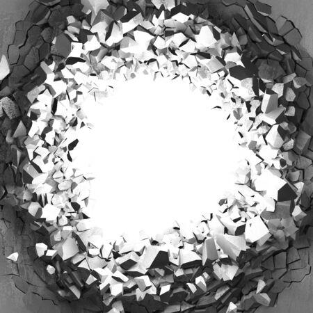 Dark cracked broken hole in concrete wall. Grunge background. 3d render illustration Standard-Bild - 129478017
