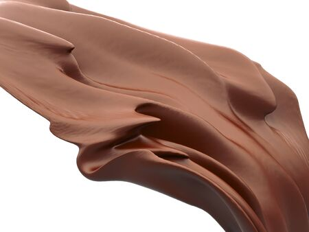 Shiny chocolate liquid splash on white background. 3d render illustration