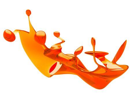 Yellow shiny transparent liquid splash on white background. 3d render illustration 版權商用圖片