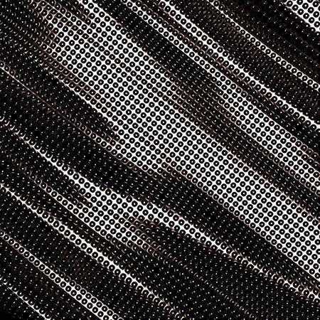Dark wavy silver metallic dots background. 3d render illustration 写真素材