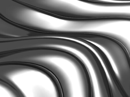 Abstract silver wavy stripes background. 3d render illustration