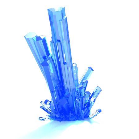 Colorful crystal cluster on white background. 3d render illustration